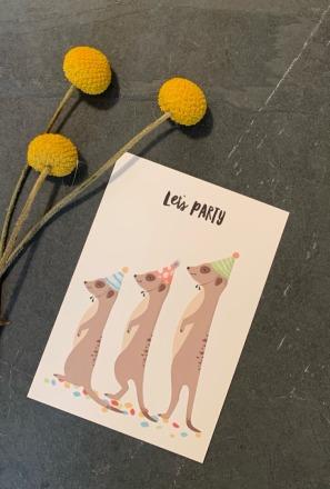 vierundfünfzig illustration Postkarte Konfetti Erdmännchen vierundfünfzig
