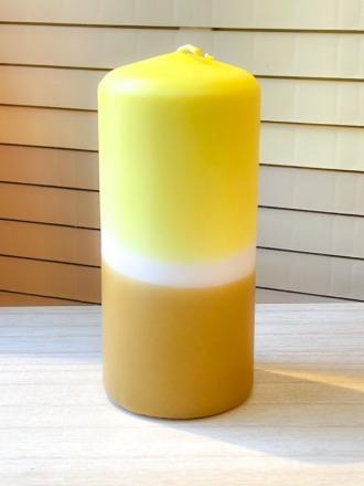 UNIQUE ARTS Stumpen Kerze groß Gelb/Curry