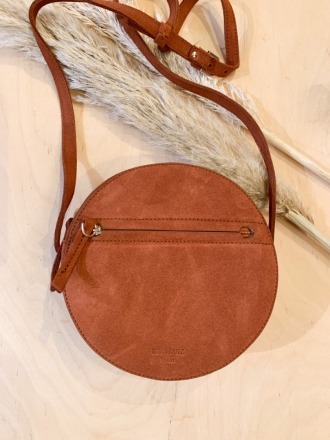 Pia Circle Bag Suede Dark Peach