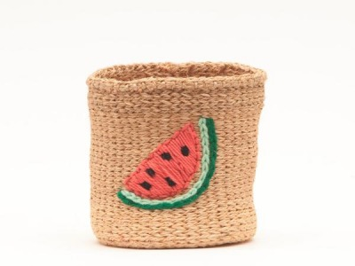 Watermelon: Fruity Embroidered Woven Storage Basket