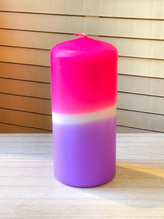 UNIQUE ARTS Stumpen Kerze groß Pink/Lila