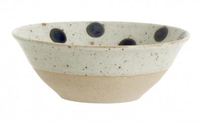 NORDAL GRAINY dot bowl sand/dark blue