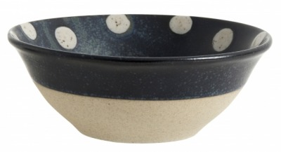 NORDAL GRAINY dot bowl dark blue/sand