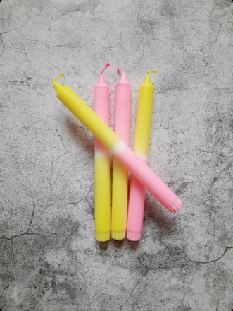 Kerze groß Gelb-rosa zart UNIQUE ARTS