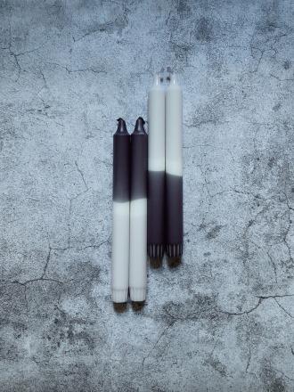 UNIQUE ARTS Kerze groß Schwarz-Grau Handgetaucht