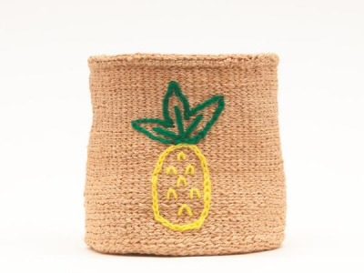 PINEAPPLE: Fruit Motif Embroidered Woven Storage