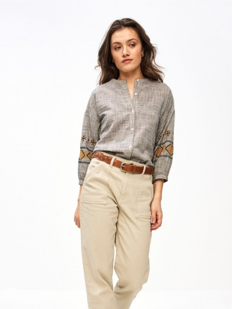 cecile embroidery blouse dark grey melee