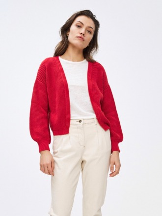 bar cotton cardigan - red -