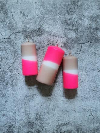 UNIQUE ARTS Stumpen Kerze groß Pink/Nougat