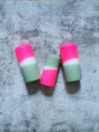 UNIQUE ARTS Stumpen Kerze klein Pink/Salbei