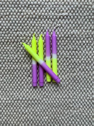 Kerze groß - Lila/Neongelb - B