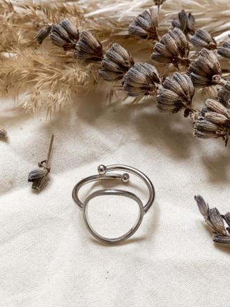 Ring silber Kreis rhodiniertes Messing Sergio
