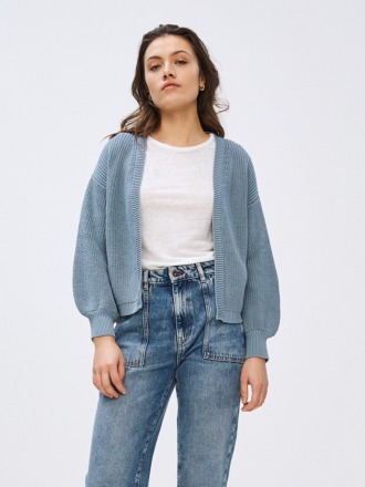 bar cotton cardigan - cloud -