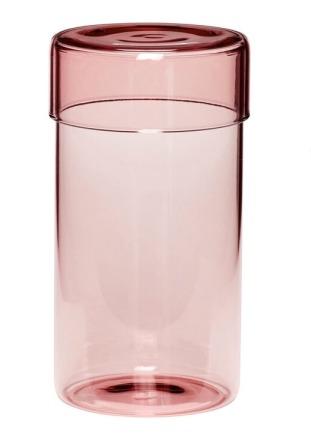 Hübsch Aufbewahrungsglas mit Deckel groß Rosa