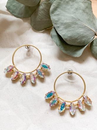 Goldene Statement Ohrringe weiß/rosé Swarovski Kristallen