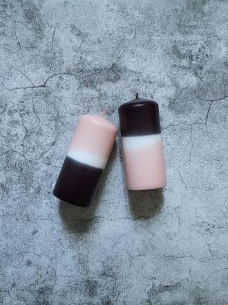 UNIQUE ARTS Stumpen Kerze klein Rosa/Anthrazit