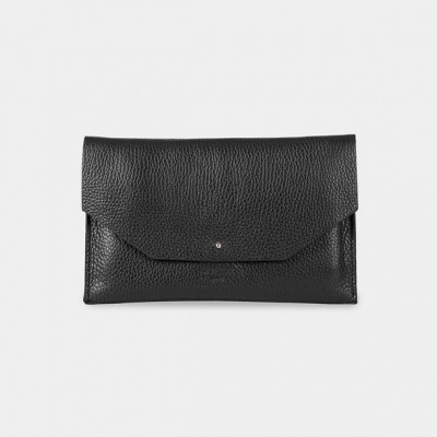 ann kurz Mia Grained Black Clutch