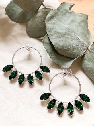 Silberne Statement Ohrringe mit grünen Swarovski