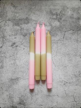 Kerze groß Olive -rosa UNIQUE ARTS