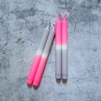 UNIQUE ARTS Kerze groß Grau-Pink Handgetaucht