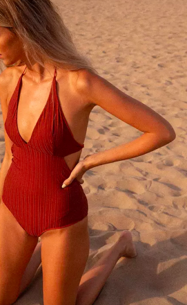 Clo Stories Anne ribbed reversible swimsuit