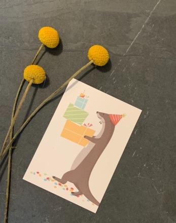 vierundfünfzig illustration Postkarte Konfetti Otter vierundfünfzig
