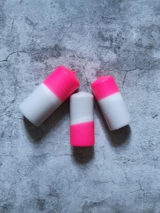 UNIQUE ARTS Stumpen Kerze groß Pink/Grau