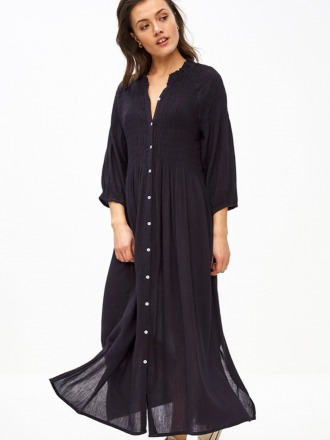 loulou smocked dress - midnight -