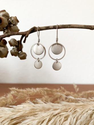 Ohrring Hänger Silber mit Plättchen groß