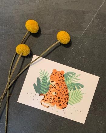 vierundfünfzig illustration Postkarte Jaguar mit Kind