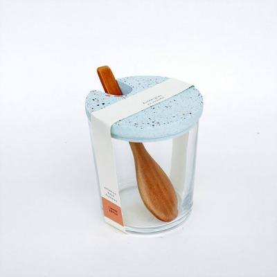 Zuckerglas mit Tarrazzo Deckel hellblau von