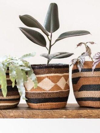 KADI Geometric Natural and Black Baskets