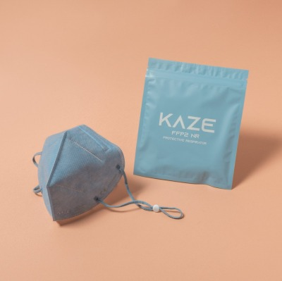 KAZE FFP2 Maske Powder Blue 3-dimensional