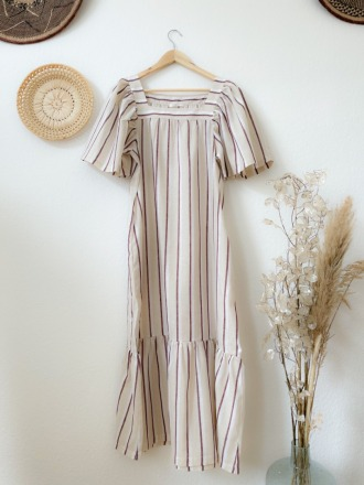 BEAUMONT ORGANIC LESLEY-SUE-CREA-PLUM DRESS Made from