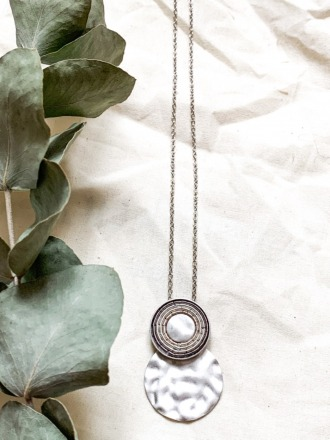 Statement Kette silber rhodiniert mit Metallspiralen