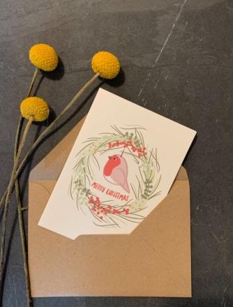 vierundfünfzig illustration Grußkarte Weihnachten Rotkehlchen vierundfünfzig