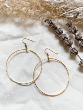 POTIPOTI Accessoires Creolen groß/schmal vergoldet Handmade
