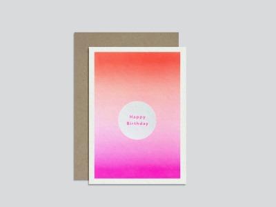 HungryPaper Klappkarte Happy Birthday Verlauf Orange/Pink