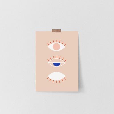 Postkarte Line Drawing Eye la maison