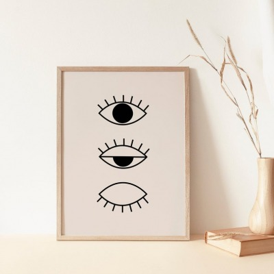 Kunstdruck Line Drawing Eye Beige/Black A4