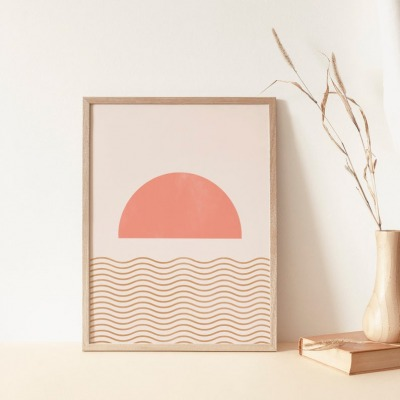 Kunstdruck Geometric Sunset A4 la maison