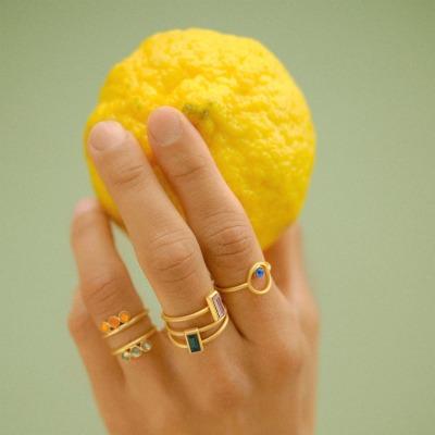 Verstellbarer Ring golden mit Swarovski Kristall