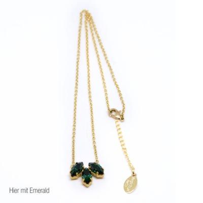Statement-Kette golden mit grünen Swarovski Kristall