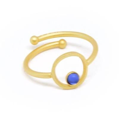 Ring vergoldet mit blauem Acrylstein verstellbar