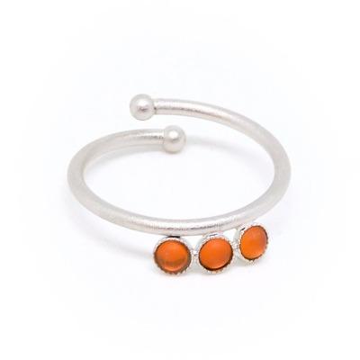 Ring silbern mit orangen Acrylsteinen verstellbar