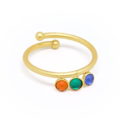 Ring vergoldet mit bunten Acrylsteinen verstellbar