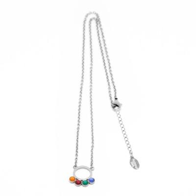 Minimalistische Kette silbern mit Kreisanhänger und