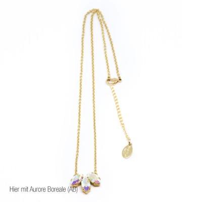 Statement-Kette golden mit weiß/rosa Swarovski Kristall