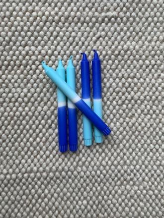 Kerze groß - navy/hellblau - B