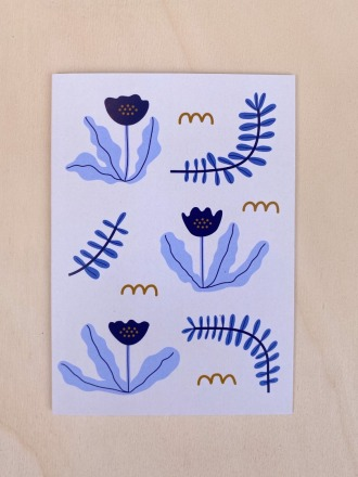 Klappkarte - Blaue Blumen